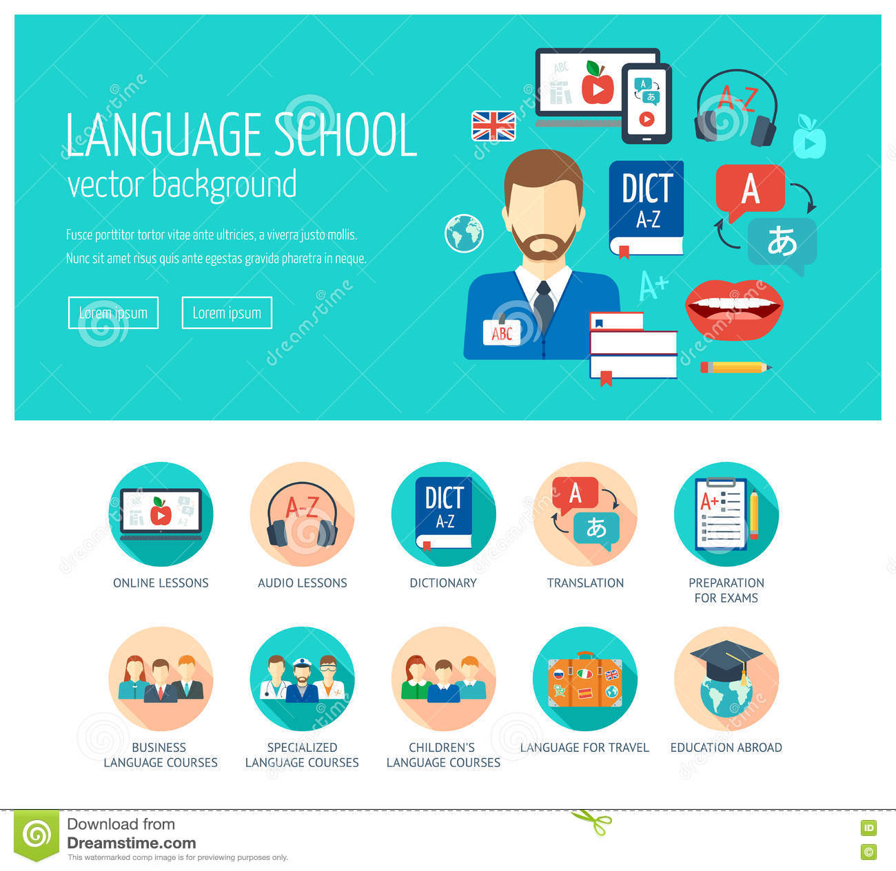 Web Design Concept For Website And Landing Page For Foreign Language School  And Courses. Web Banner. Flat Design. Vector Stock Illustration -  Illustration of internet, international: 81863719